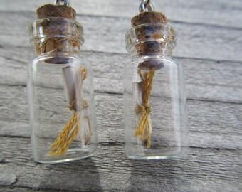 Positive Message in a bottle earrings