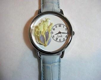 Women's Watch, Wrist Watch for Women, Peony and Larkspur Watch,Pressed Flower Watch, Women's Wrist Watch, Bridesmaid Gift, Retirement Gift
