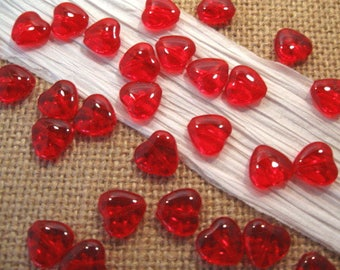 Czech 10mm Ruby Red Glass Heart Beads - 25 Count
