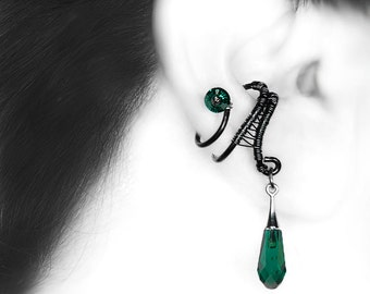 Swarovski Crystal Ear Cuff, Emerald Swarovski Crystal, No Piercing Needed,  Wire Wrapped Jewelry, Youniquely Chic, Gift For Her, Charon III