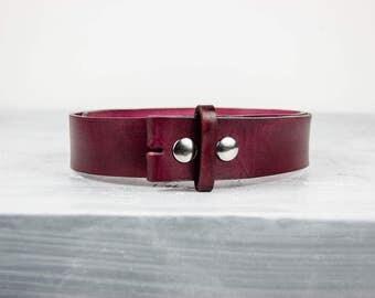 "Handmade Oxblood Leather Belt - 1.5"" Snap Belt"