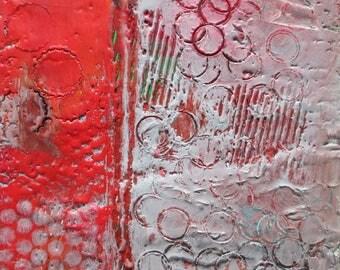 Encaustic art, encaustic painting, nuts and bolts, circle art, texture art, abstract art, red gray art