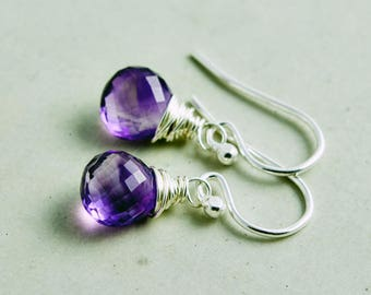 Amethyst Drop Earrings, Dangle Earrings, February Birthstone Earrings, Sterling Silver Drop Earrings