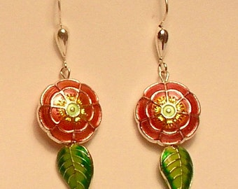 Cloisonné and sterling silver earrings
