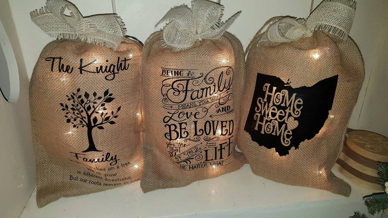 Burlap bag with lights burlap bag burlap lights burlap bag for Burlap lights