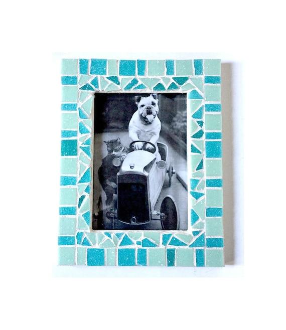 Aqua Blue Mosaic Frame, 5x7 Mosaic Frame, Soft Aqua Mosaic Frame, Aqua Picture Frame, Glass Tile Mosaic Frame, Ocean Blue Mosaic Frame