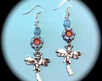 Dragon Flies and Flowers Long Dangle Fashion Earrings for Every Day Wear boho gypsy native  gift southwestern spring summer
