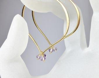 Large Hoop Earrings, Amethyst Gemstone, Gold Vermeil Lotus Earwires