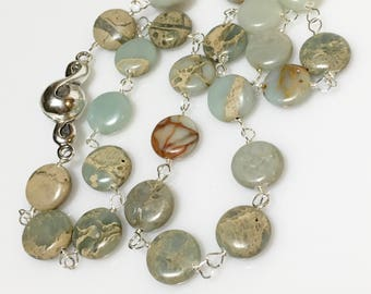 25% OFF Gemstone Coin Sterling Silver Necklace, Magnetic Clasp