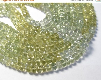 Natural Prasiolite Green Amethyst ROndelle Beads, 7mm ROndelle Beads , 1 Strand