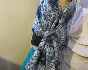 Blue Tye Dye Fleece Wrap, Shawl, Hands Free Wrap, Hands Free Shawl, Self Wrap Shawl
