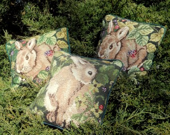 Needlepoint Pillow Set -Vintage Pillows - Easter Bunny Pillow - French Country Pillow - Cottage Pillow -Rabbit Decorative Pillow-Shabby Chic