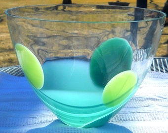 """Contemporary Abstract Glass Bowl - Studio Art Glass Hand Blown 10"""" Round shades of Green Glass- Signed"""
