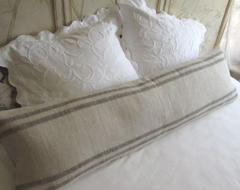 FRENCH LAUNDRY 16x54 super long  Pillow Cover  in brown green Stripes