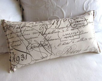 French Script  Lumbar pillow 10x20