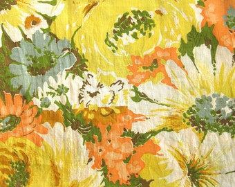 1960s Vintage Fabric / FLORAL Cotton in Yellow Green Orange Brown Blue  / Large Floral Print / By the Yard