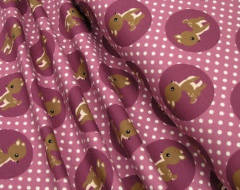 Jersey Deer on raspberry with white dots Cotton Jersey Knit Fabric 0.54yd (0,5m) 003276