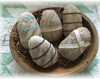 Primitive Grungy Easter Quilted Easter Eggs Group Five Spring Quilt Blues