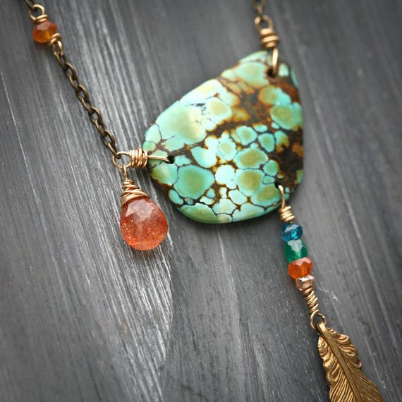 Blue Green Orange and Gold - Turquoise and Sunstone Brass and 14k Gold Filled Necklace