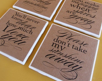 YOU are MY SUNSHINE -  coasters, set of 4