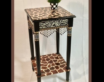 Whimsical Painted Furniture, Whimsical Painted Table, Painted Leopard Table // African Style Table // Whimsical Painted Furniture