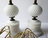 Vintage Milk Glass Hobnail Lamp Pair - Cottage Beachy Chic