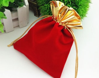 """25 Red and Gold Trim 3""""x 4"""" Jewelry Pouches Velvet Gift Bags Packaging Supplies"""