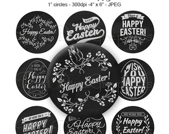 Happy Easter Chalkboard Bottle Cap Images 1 Inch Circles Digital JPG - Instant Download - BC1161