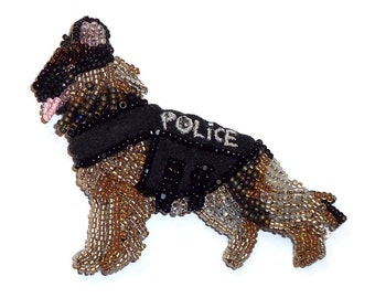 POLICE DOG Beaded German Shepherd Pin Pendant Bead Embroidery Jewelry Gift for Her/ Ready to Ship