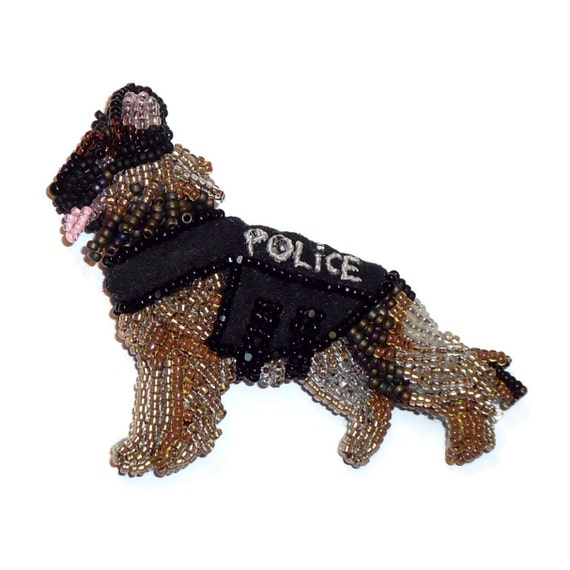 POLICE DOG Beaded German Shepherd Pin Pendant Jewelry Gift for Her/ Ready to Ship/  Free US Shipping