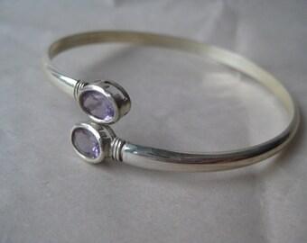 Amethyst Stone Sterling Bangle Bracelet Silver Vintage 925 Pastel