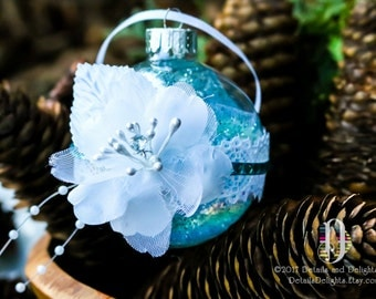Bridal Flower Aqua Teal Turquoise Blue Diamond Glass Round Ornament, Lace Tulle Crystal Bead Gem Christmas Holiday Tree Decor