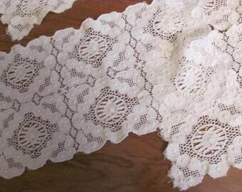 Wow..Lowered...Lot Set 8 Matching Rectangular Lace Doillies Vintage Ecru, Wedding Doillies, Table Decor,