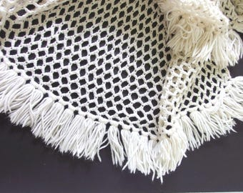 Vintage 1980's Handmade, Crocheted Lacy Open Weave Afghan in White