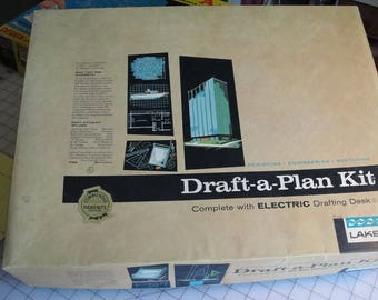 Vintage 1961 Draft a Plan kit from Lakeside Drafting and blueprint teaching tool