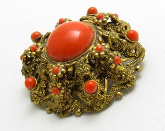Vintage Domed Brooch Coral Orange Jewelry P7661