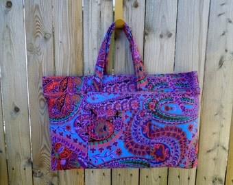 Kaffee Fassett Paisley Jungle Expandable Tote Bag, Knitting Bag