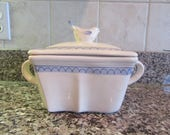 Vietri (Italy) glazed casserole dish with side handles and lid with bird handle- rare, very nice condition