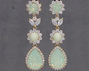 Mint Green Earrings, Gold Bridal Earrings, Chandelier Earrings, Mint Bridesmaids Jewelry, Swarovski CHRYSOLITE OPAL Crystal jewellery