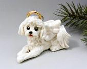 Bichon Frise Angel Christmas Ornament Figurine Porcelain