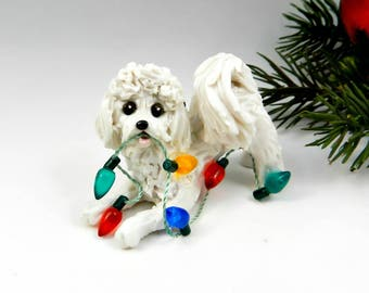 Bichon Frise Christmas Ornament Figurine Lights Porcelain