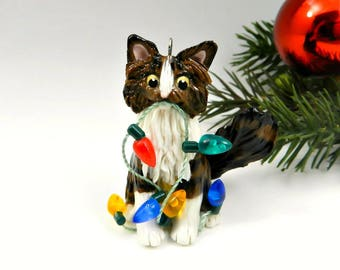 Maine Coon Cat or Norwegian Forest Cat Christmas Ornament Figurine Lights Porcelain