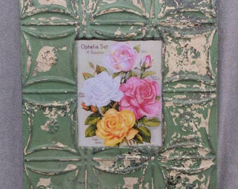 TIN CEILING Green Metal Picture Frame 8x10 Shabby Recycled chic 523-16
