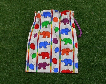 Small drawstring bag for kids, colourful elephants drawstring pouch for toys, gifts, treasures