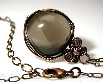 Smoky Quartz Sphere Pendant Necklace - Gemstone Crystal Ball Wire-Wrapped, Nickel Free Copper, Healing Hypoallergenic Unique OOAK Jewelry
