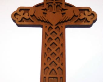 Celtic CLADDAGH Cross with Shamrocks and Harp Handcrafted in Cherry With Laser Engraving