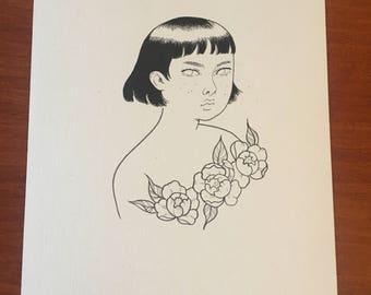 Original drawing - Peonies