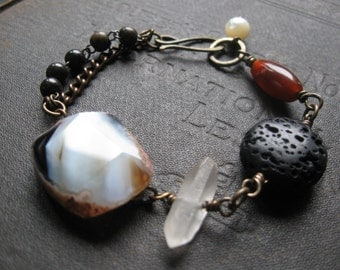 Assemblage Bracelet With Agate Quartz Lava Rock and Carnelian