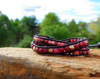 Pink Crazy Lace Agate Boho Wrap Bracelet