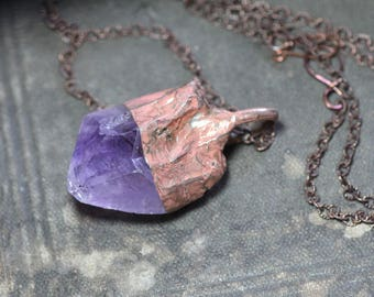 Amethyst Necklace Soldered Copper Amethyst Pendant Rustic Jewelry Raw Rough Crystal Nugget